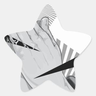 Pegatina En Forma De Estrella Pintada de rogación de las manos