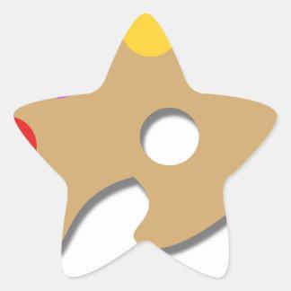 Pegatina En Forma De Estrella Pinte la paleta y cepíllela