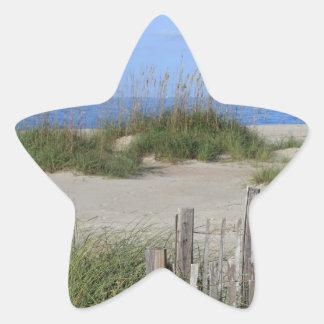 Pegatina En Forma De Estrella Playa de Caswell, tierra del NC y paisaje marino