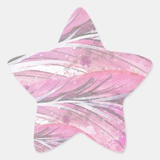 Pegatina En Forma De Estrella plumas, color de rosa ligero, elegante,