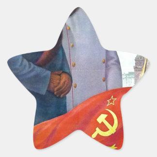 Pegatina En Forma De Estrella Propaganda original Mao Zedong y Joseph Stalin
