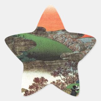 Pegatina En Forma De Estrella Pueblo japonés