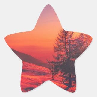 Pegatina En Forma De Estrella Puesta del sol de la tarde Nevado