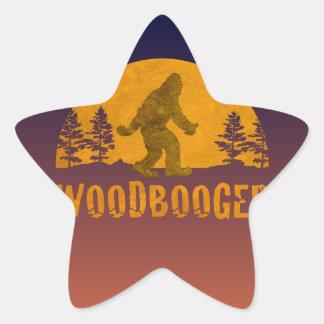 Pegatina En Forma De Estrella Puesta del sol del vintage de Woodbooger