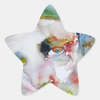 Pegatina En Forma De Estrella rand del ayn - retrato de la acuarela