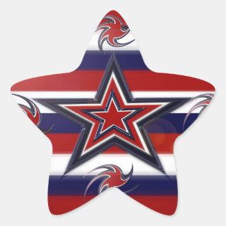 Pegatina En Forma De Estrella Rayas tricoloras de las estrellas