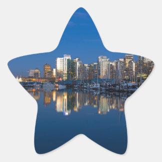 Pegatina En Forma De Estrella Reflexión azul de la hora de Vancouver A.C.