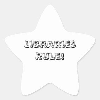 Pegatina En Forma De Estrella ¡Regla de bibliotecas! Pegatinas