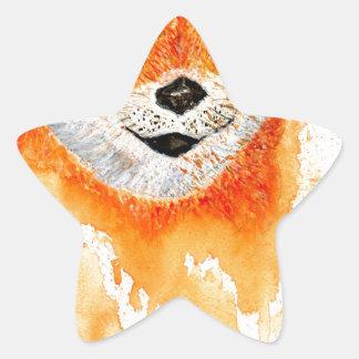 Pegatina En Forma De Estrella Retrato de Shiba Inu