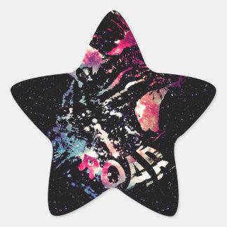Pegatina En Forma De Estrella Retrato del gato del espacio