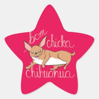 Pegatina En Forma De Estrella Retruécano divertido del perro de la chihuahua de