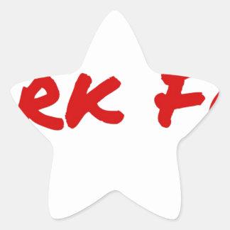 Pegatina En Forma De Estrella Rojo de la comida del tiburón