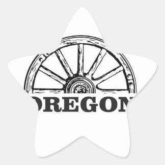 Pegatina En Forma De Estrella rueda simple del rastro de Oregon