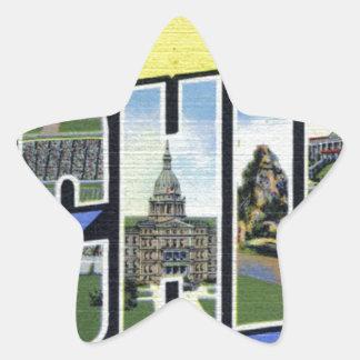 Pegatina En Forma De Estrella Saludos de Michigan