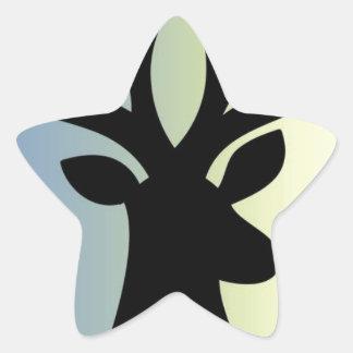 Pegatina En Forma De Estrella Sea sombra valiente de la cabeza de los ciervos