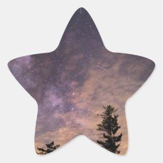 Pegatina En Forma De Estrella Silueta de árboles en la noche