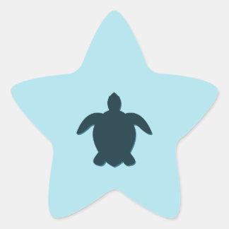 Pegatina En Forma De Estrella Silueta de la tortuga de mar con la sombra