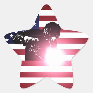 Pegatina En Forma De Estrella Soldador y bandera americana