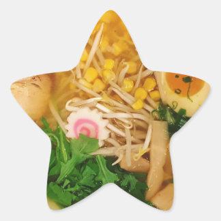 Pegatina En Forma De Estrella Sopa de fideos de los Ramen del cerdo