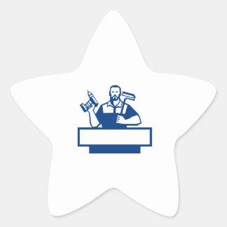 Pegatina En Forma De Estrella Taladro sin cuerda barbudo Paintroller de la