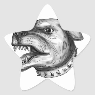Pegatina En Forma De Estrella Tatuaje el gruñir de la cabeza de perro de