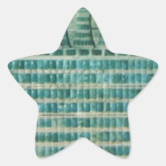 Pegatina En Forma De Estrella tejas azules del trullo