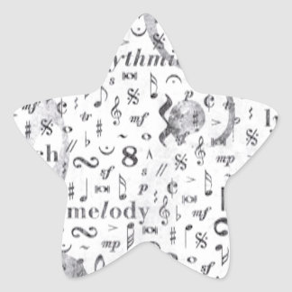 Pegatina En Forma De Estrella Tema de la música del modelo de la nota de la