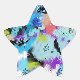 Pegatina En Forma De Estrella Tonalidades artísticas de la acuarela abstracta