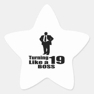 Pegatina En Forma De Estrella Torneado de 19 como Boss