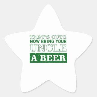 Pegatina En Forma De Estrella Traiga a tío una cerveza
