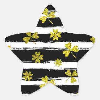 Pegatina En Forma De Estrella trébol blanco del negro de los patricks del st