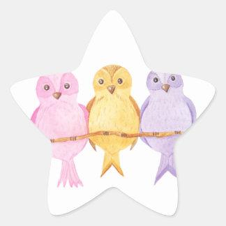 Pegatina En Forma De Estrella trío de los búhos de la acuarela