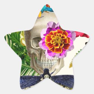Pegatina En Forma De Estrella Tropical Skull