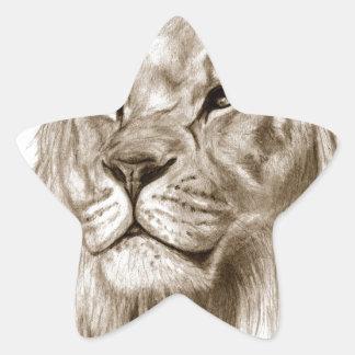 Pegatina En Forma De Estrella Un león - sin arte del bosquejo del dibujo del
