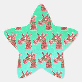 Pegatina En Forma De Estrella Unicornio del Bougainvillea