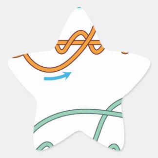 Pegatina En Forma De Estrella Versión bicolor mejorada del diagrama del nudo del