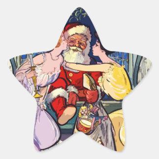 Pegatina En Forma De Estrella Vintage Papá Noel