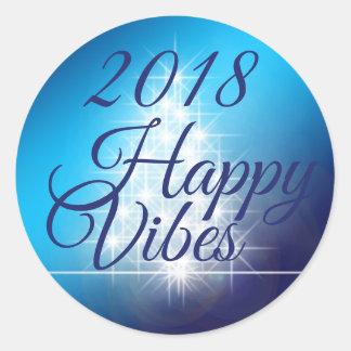 Pegatina feliz 2018 de la sensación redondo