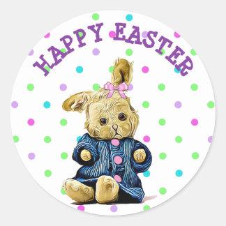 Pegatina feliz del conejito del vintage de Pascua