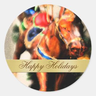 Pegatina feliz del sobre del caballo del día de fi