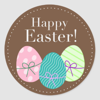 Pegatina feliz redondo del huevo de Pascua
