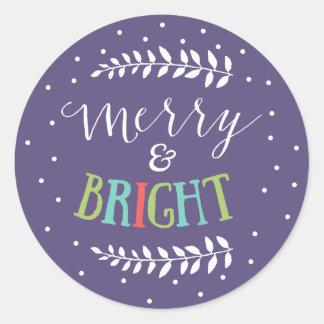 Pegatina feliz y brillante del navidad de los