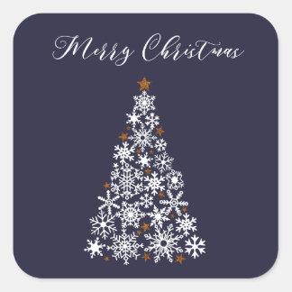 Pegatina festivo del árbol de navidad del copo de