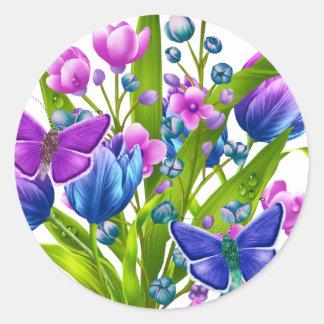 Pegatina floral azul y púrpura con las mariposas