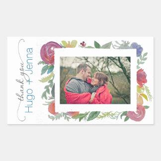 Pegatina floral de la foto de la acuarela