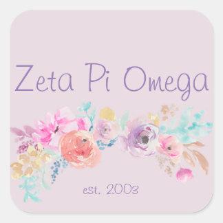 Pegatina floral de la zeta pi Omega
