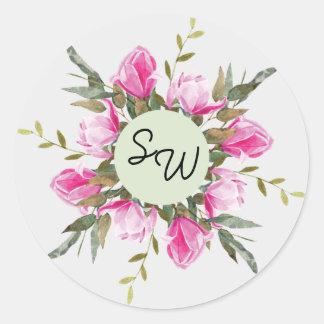 Pegatina floral del boda de la acuarela de la