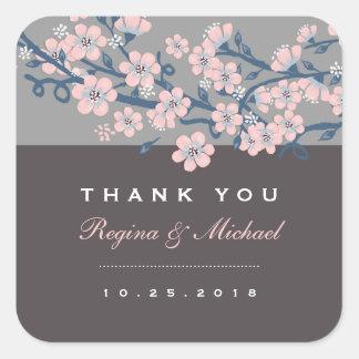 Pegatina floral del boda de la flor de cerezo gris