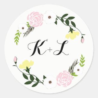 Pegatina floral del boda del jardín