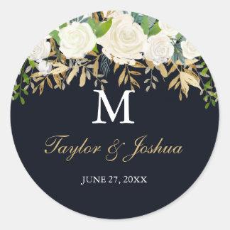 Pegatina floral del boda del monograma del oro de